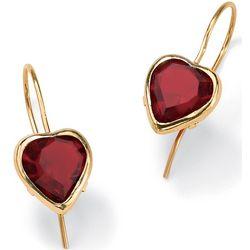10K Gold Heart-Shaped Birthstone Pierced Earrings