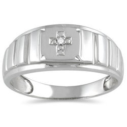 Men's Round Diamond Cross Ring in 10K White Gold
