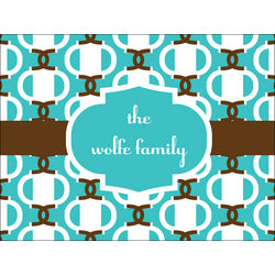 Personalized Brown and Teal Chain Link Cutting Board