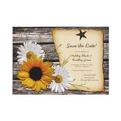 Rustic Sunflower Save the Date Custom Invites