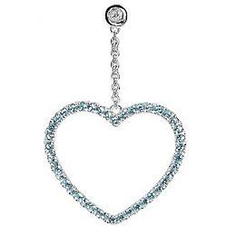 Blue Topaz Heart Earrings in Sterling Silver