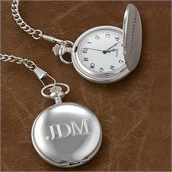 Engraved Classic Silver Tone Pocket Watch