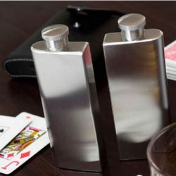 Double 3-Ounce Stainless Flask with Black Leather