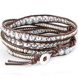 Leather Lagoon Wrap Bracelet