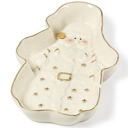 Holiday Splendor Santa Tidbit Plate