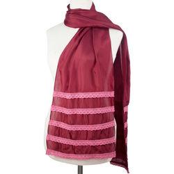 Floral Wine Silk Blend Scarf