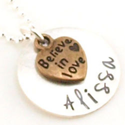 Believe in Love Personalized Hand Stamped Necklace