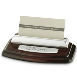 High Gloss Mahogany Silver Business Card Holder