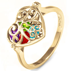 Gold Filigree Locket Ring with 4mm Round Birthstones