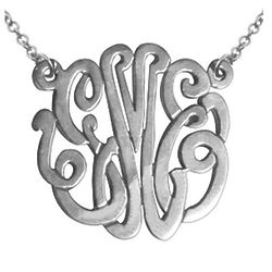 Handmade Script Monogram Necklace in Sterling Silver