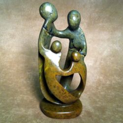 Loving Family of Four Stone Sculpture
