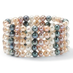 Non-Metal Multi-Colored Cultured Freshwater Pearl Bracelet