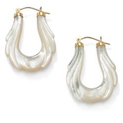 10K Gold Mother-of-Pearl Hoop Pierced Earrings