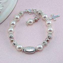 Vintage Pearl Gemstone Engraved Birthstone Bracelet