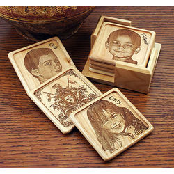 Personalized 4-piece Maple Wood Coaster Set
