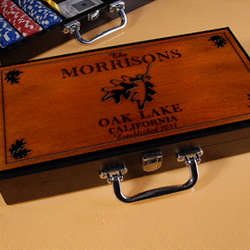 Personalized Cabin Series Poker Set with White Oak Design
