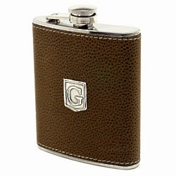 Pewter Monogrammed Cocoa Brown Hip Flask