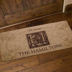 Floral Monogram Personalized Oversized Doormat