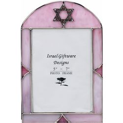 Pink Stained Art Glass Picture Frame