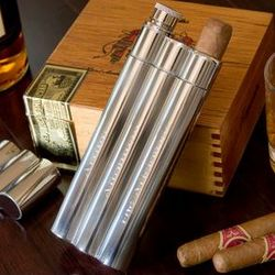 Stainless Double Cigar Holder with Flask
