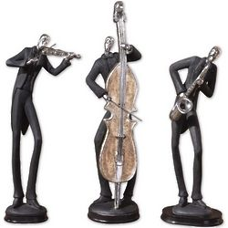 Three Musicians Slate Grey Sculpture