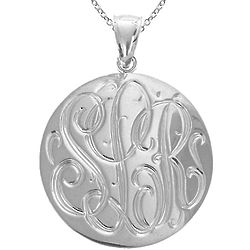 Engraved Monogram Medallion Necklace in Sterling Silver