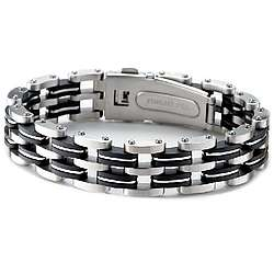 Mens Stainless Steel and Rubber Bracelet