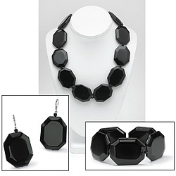 Silvertone Onyx Women's Jewelry Set