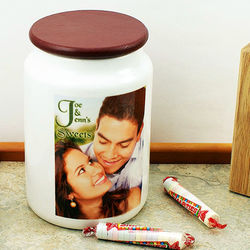 Photo and Text Personalized Ceramic Candy Jar