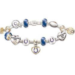 Go Colts! #1 Fan Charm Bracelet with Swarovski Crystals
