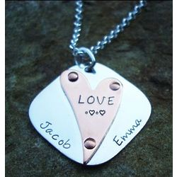 Riveted Love Hand Stamped Necklace in Copper & Sterling