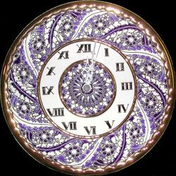 Handmade Ceramic Clock with Enamels and 24Kt Gold