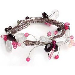Butterfly Bloom Garnet and Rose Quartz Wrap Bracelet