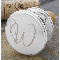 Personalized Initial Silver Wine Bottle Stopper