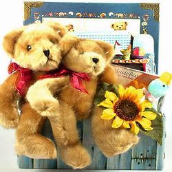 Classic Teddy Bear Baby Basket