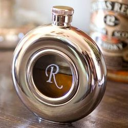 Round Stainless Steel Flask with Glass Center