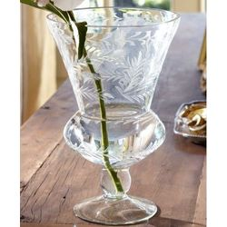 French Etched Glass Pedestal Vase