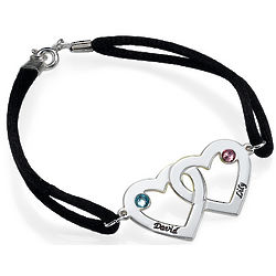 Personalized Couples Heart Charm Bracelet with Swarovski Crystals