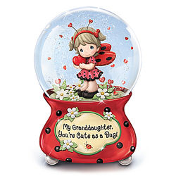 Granddaughter's Cute as a Bug Musical Glitter Globe