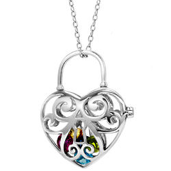 Locked Heart 4mm Round CZ Birthstones Silver Locket Necklace