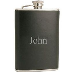 Classic Black Leather Flask with Silver Detailing