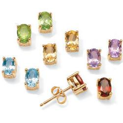 18k Gold Plated Gemstone Pierced Earring Set