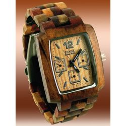 Deluxe Multi-Function Men's Dual-Tone Sandalwood Watch