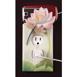Dragonfly Water Lily Outlet Cover and Cell Phone Holder