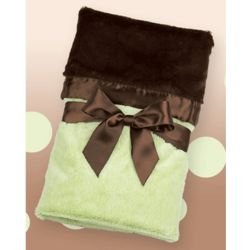 Chocolate/Kiwi Silky Soft Personalized Crib Blanket