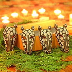 Black Giraffe Wood Ornaments