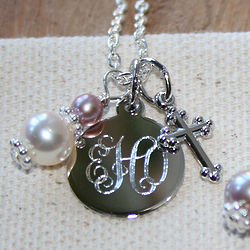 Custom Birthstone Necklace with Small Round Pendant