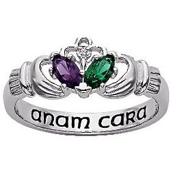 Personalized Sterling Silver Couple's Claddagh Ring
