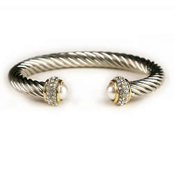 Silver Twist Cuff with Pearls