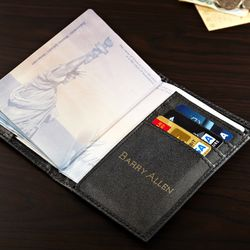 Personalized World Traveler Leather Passport Cover